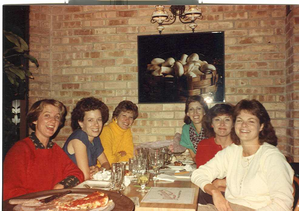 "1985 (?) Our ""hen party"" group (r to l): Nancy B, Becky Marquardt, Sandy Murray, Leslie Hurless, Ginny Poynton,  Teri Legner at Connie's on Cass."