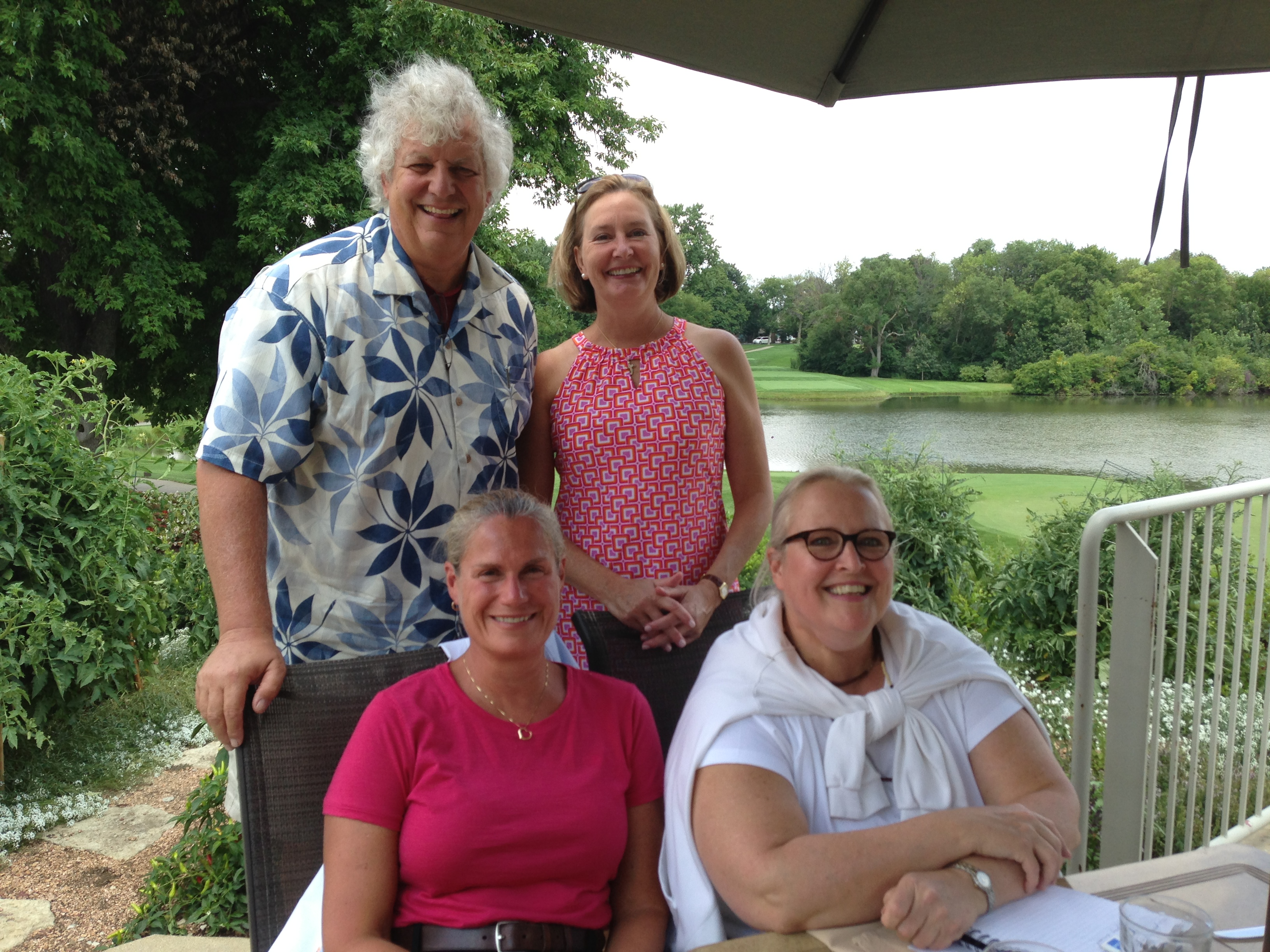 Dan W, Sue G, Bonnie S and Bonnie B meet up at Ruth Lake Country Club to hammer out reunion details and have lunch. Aug 10, 2013